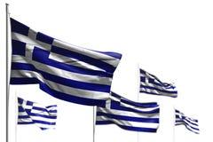 Красивые 5 флагов Греции развевать изолированной на бело- изображении с bokeh - любой иллюстрацией флага 3d пиршества иллюстрация штока