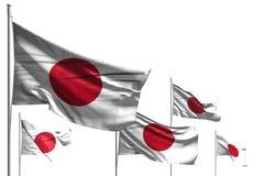 Красивые 5 флагов Японии волна изолированная на бело- любая иллюстрация флага 3d пиршества иллюстрация штока