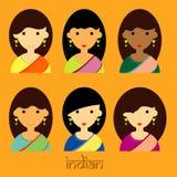 Красивые характеры дамы вектора индейца установленного и длинной прически Бесплатная Иллюстрация