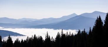 Красивые холмы на восходе солнца в прикарпатских горах Стоковые Фотографии RF