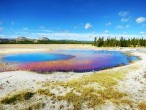 Красивые цвета в солнечном дне, национальном парке Йеллоустона, Вайоминге Стоковое Изображение RF