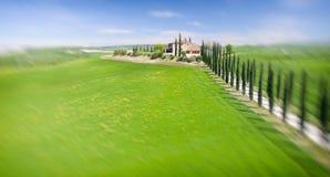 Красивые цвета Тосканы, сезон вида с воздуха весной Стоковое Изображение