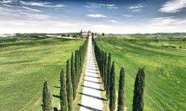 Красивые цвета Тосканы, сезон вида с воздуха весной Стоковые Фотографии RF