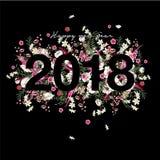 Красивые цветки и ботаническая дата 2018 на черной предпосылке иллюстрация вектора