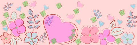Красивые цветки и сердце на розовом фоне Панорамная предпосылка иллюстрация штока