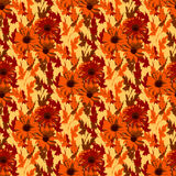 Красивые цветки осени Яркая флористическая предпосылка, ретро стиль Стоковые Изображения RF