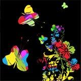 Красивые цветки с бабочками Стоковое Изображение