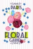 Красивые цветки цитат Графический дизайн для футболки Стоковые Изображения RF