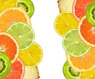 Красивые цитрусовые фрукты лимона, апельсина, грейпфрута, известки Стоковое Изображение RF