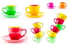 Красивые чашки желтого, красного, зеленого цвета, комплект, коллаж Стоковая Фотография