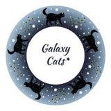 Красивые черные коты гуляя через звёздное небо иллюстрация вектора