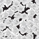 Красивые черные, серый цвет и белая роза цветут, безшовная картина Ботанической силуэт нарисованный рукой Плоский цвет stylizatio иллюстрация вектора
