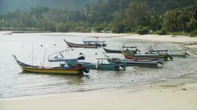 Красивые шлюпки на малайзийском пляже видеоматериал