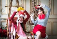 Красивые элегантные женщины празднуют рождество Стоковые Фотографии RF