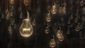 Красивые электрические лампочки стиля edison против черноты акции видеоматериалы