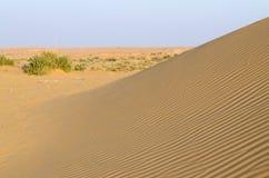 Красивые дюны Thar дезертируют во время захода солнца, Раджастхана, Индии стоковая фотография
