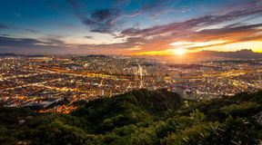 Красивые явления неба в Сеуле, Корее Стоковое Фото