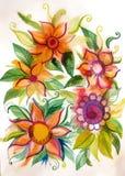 Красивые яркие цветки с листьями Стоковые Фото