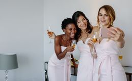 Красивые bridesmaids принимая selfie Стоковое Фото