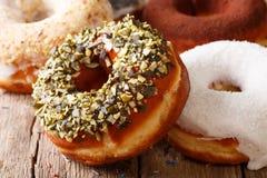 Красивые donuts с семенами подсолнуха и макросом кокоса на t Стоковая Фотография RF