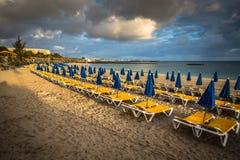 Красивые loungers солнца с парасолями на пляже Стоковое фото RF