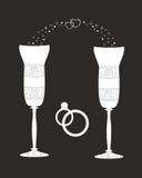 Красивые wedding стекла с декоративной картиной. Стоковые Фотографии RF