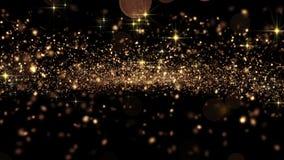 Красивый абстрактный золотой летать частиц безшовный с Bokeh Закрепленная петлей анимация 3d в замедленном движении HD 1080 бесплатная иллюстрация