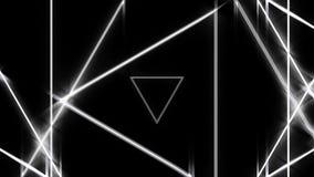 Красивый абстрактный тоннель треугольника с линиями белого света двигать концепция быстрых, диско и клубов сердитой неон иллюстрация штока