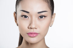 Красивый азиатский крупный план стороны девушки Стоковые Фотографии RF