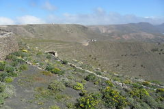 Красивый ландшафт в острове Лансароте в Канарских островах Стоковая Фотография