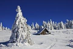 Красивый ландшафт зимы в горах с малым коттеджем Стоковое Изображение RF