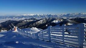 Красивый ландшафт зимы в Карпатах Стоковые Изображения RF