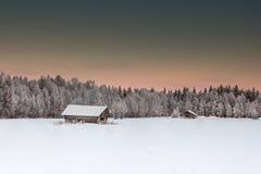 Красивый ландшафт зимы в Лапландии Финляндии Стоковое фото RF