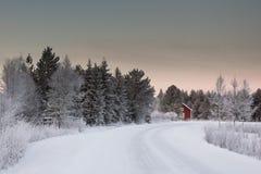 Красивый ландшафт зимы в Лапландии Финляндии Стоковое Изображение