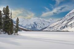 Красивый ландшафт зимы, горы Altai, Сибирь, Россия Стоковые Фотографии RF
