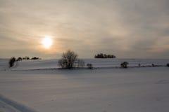 Красивый ландшафт зимы на заходе солнца с снегом Стоковое Изображение