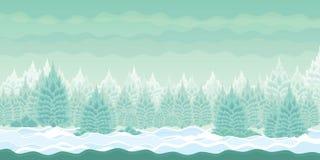 Красивый ландшафт зимы с елью иллюстрация вектора