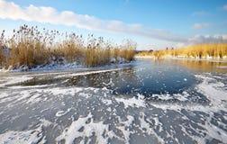Красивый ландшафт зимы с замороженным озером Стоковые Изображения