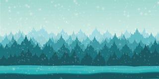 Красивый ландшафт зимы с снежинками Стоковые Изображения