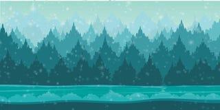 Красивый ландшафт зимы с снежинками Стоковые Фотографии RF