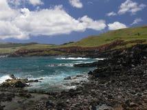 Красивый ландшафт и темносиний Тихий океан Стоковое Изображение RF