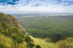 Красивый ландшафт кратера Menengai, Nakuru, Кении Стоковые Изображения