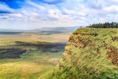 Красивый ландшафт кратера Menengai, Nakuru, Кении Стоковые Изображения RF