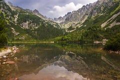 Красивый ландшафт озера горы высокие tatras Словакия Стоковая Фотография RF
