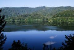 Красивый ландшафт озера прикарпатский взгляд сверху гор Стоковые Фото
