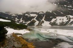 Красивый ландшафт озера туманной горы Стоковые Изображения RF