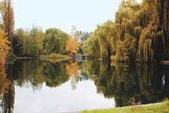 Красивый ландшафт осени с мостом через реку стоковая фотография rf