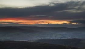 Красивый ландшафт падения осени долины надежды от края Stanage Стоковое Изображение RF