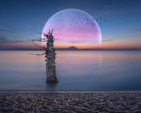 Красивый ландшафт фантазии с унылой атмосферой Стоковые Изображения RF