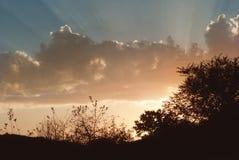 Красивый ландшафт Russain Силуэт захода солнца Стоковое Изображение RF